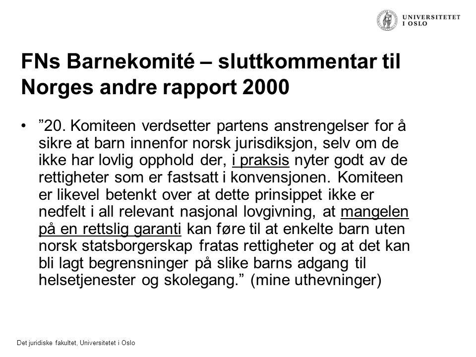 FNs Barnekomité – sluttkommentar til Norges andre rapport 2000