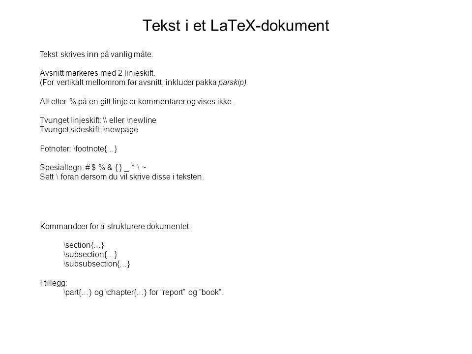 Tekst i et LaTeX-dokument