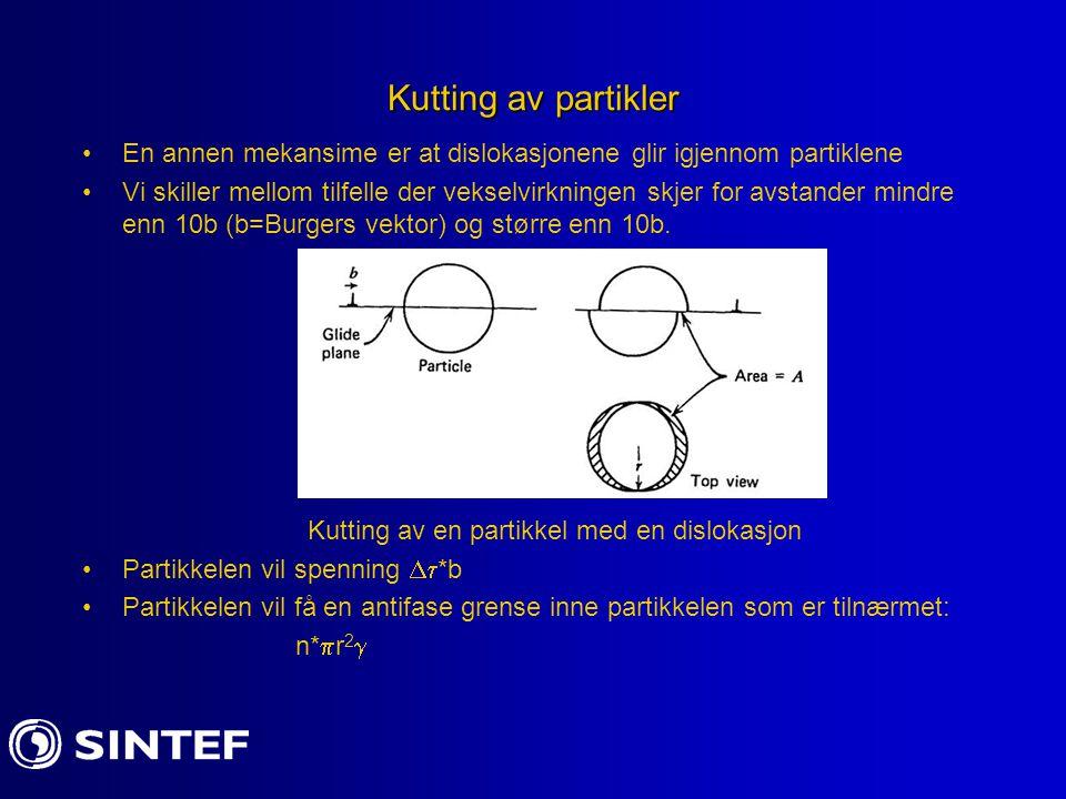 Kutting av partikler En annen mekansime er at dislokasjonene glir igjennom partiklene.