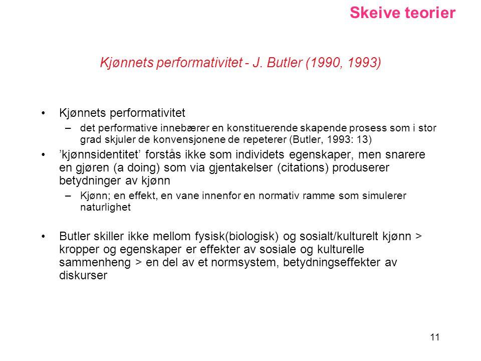 Kjønnets performativitet - J. Butler (1990, 1993)