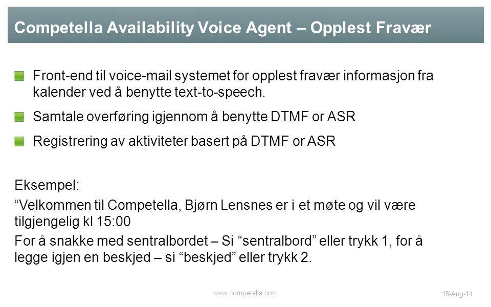 Competella Availability Voice Agent – Opplest Fravær