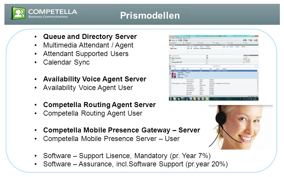 Prismodellen Queue and Directory Server Multimedia Attendant / Agent