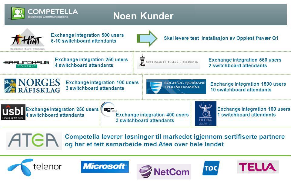 Noen Kunder Exchange integration 500 users. 5-10 switchboard attendants. Skal levere test installasjon av Opplest fravær Q1.