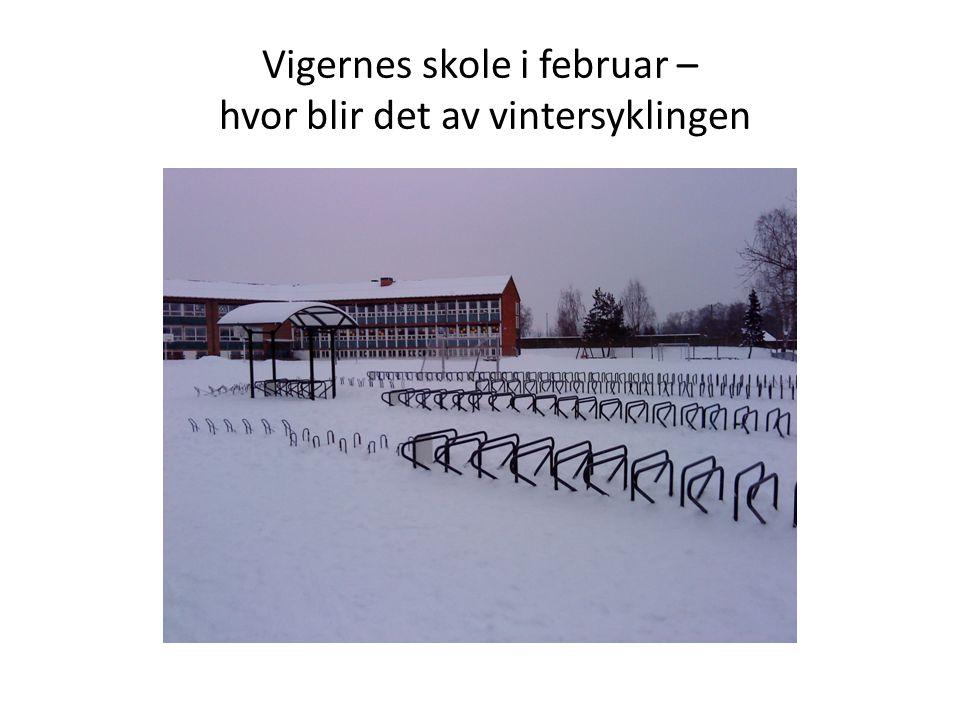 Vigernes skole i februar – hvor blir det av vintersyklingen