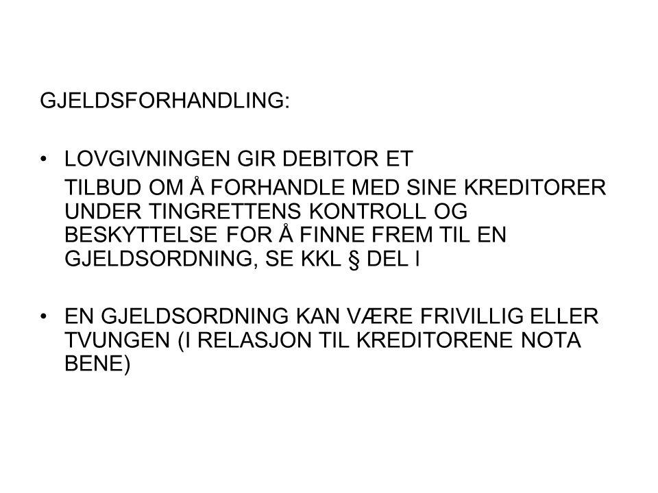 GJELDSFORHANDLING: LOVGIVNINGEN GIR DEBITOR ET.