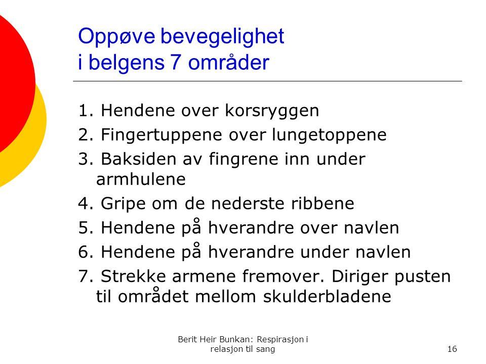 Oppøve bevegelighet i belgens 7 områder