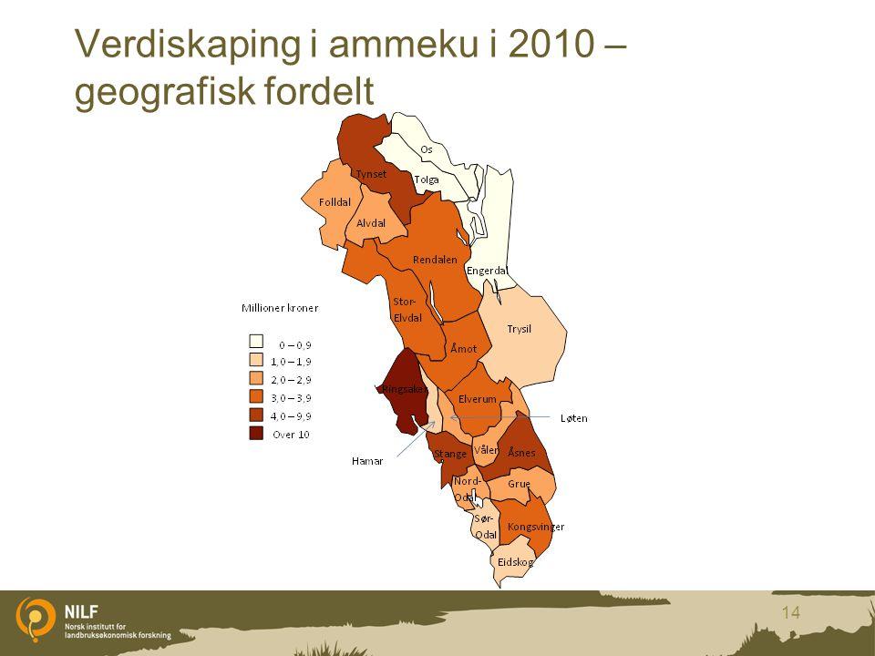 Verdiskaping i ammeku i 2010 – geografisk fordelt
