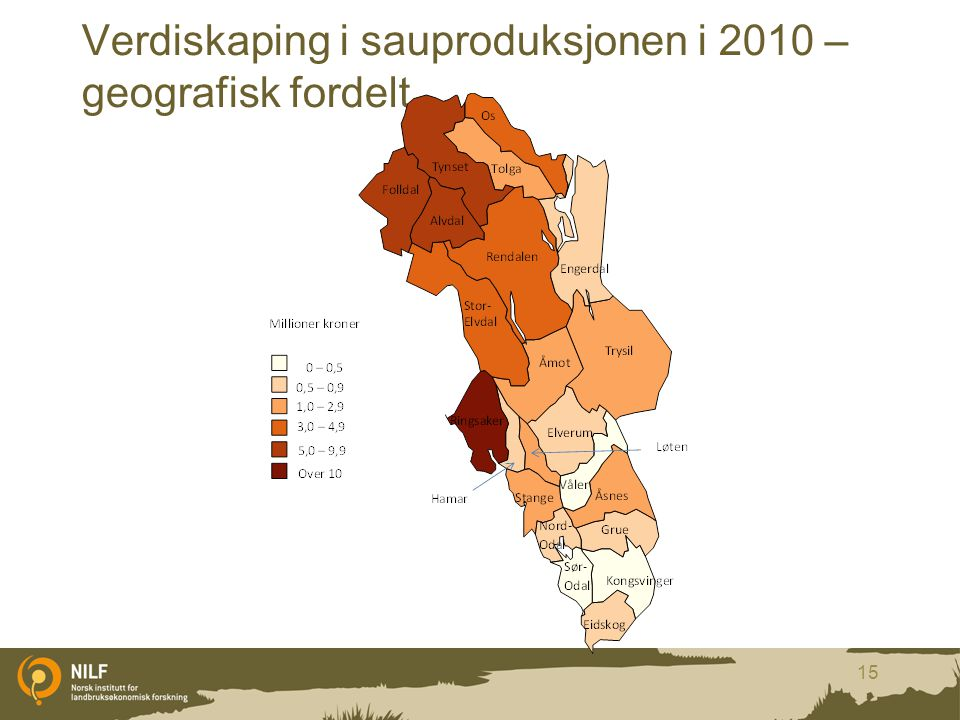 Verdiskaping i sauproduksjonen i 2010 – geografisk fordelt