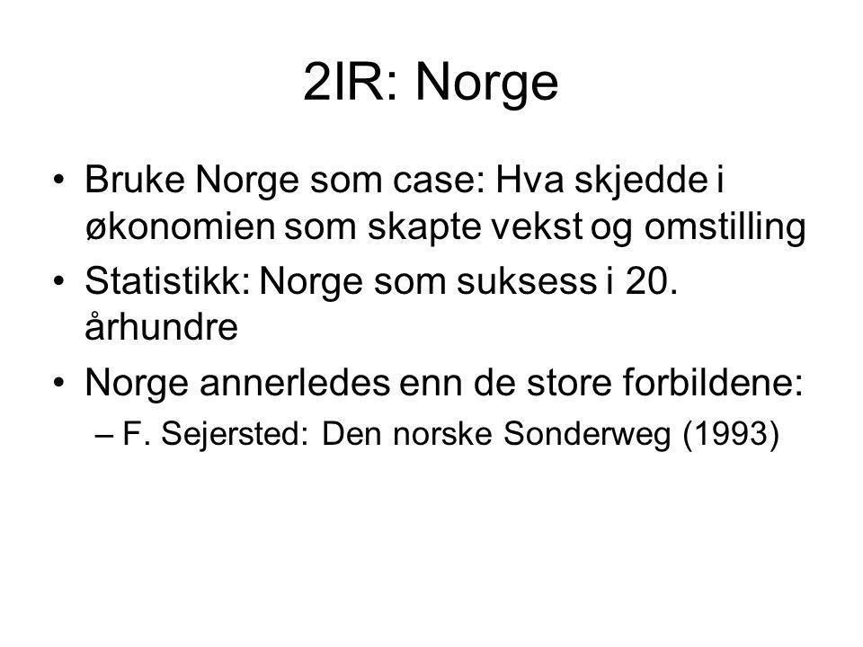 2IR: Norge Bruke Norge som case: Hva skjedde i økonomien som skapte vekst og omstilling. Statistikk: Norge som suksess i 20. århundre.