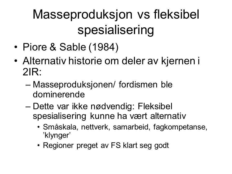 Masseproduksjon vs fleksibel spesialisering