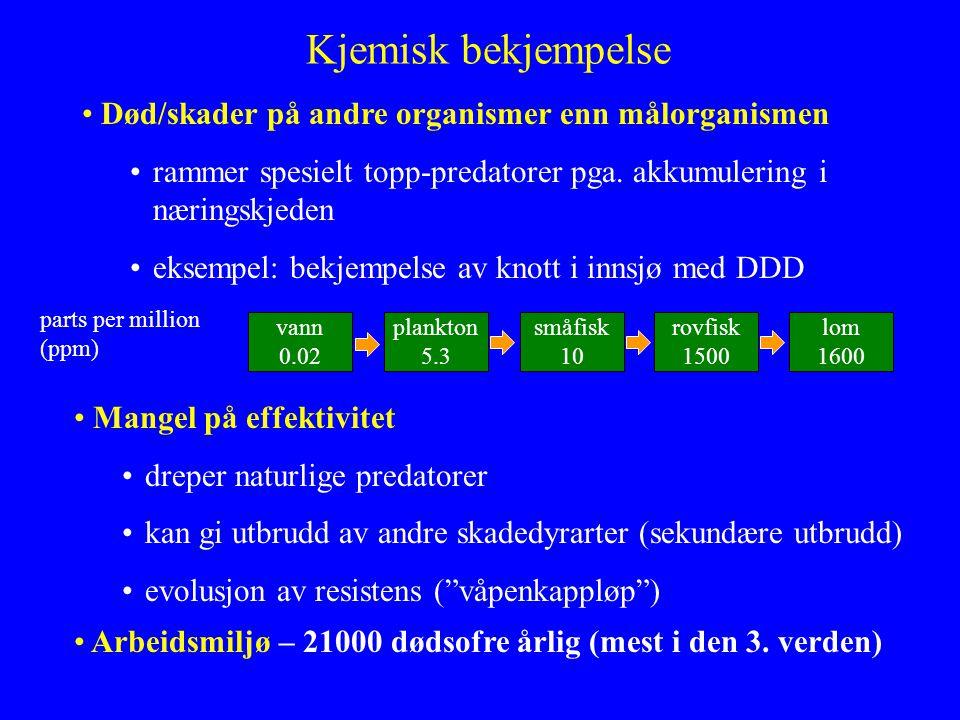 Kjemisk bekjempelse Død/skader på andre organismer enn målorganismen