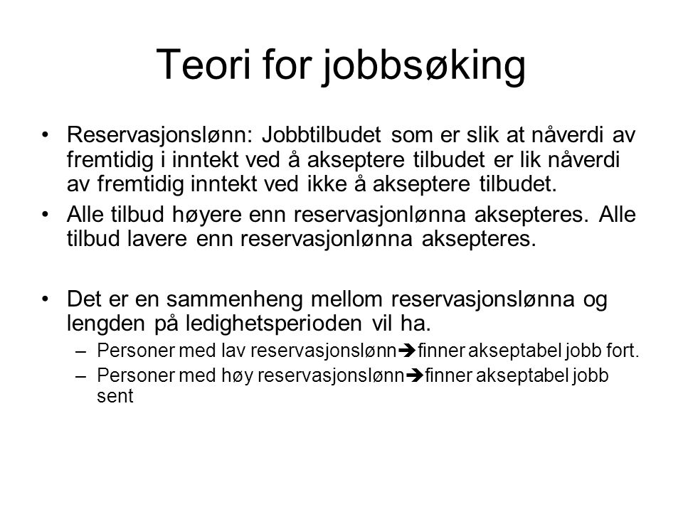 Teori for jobbsøking