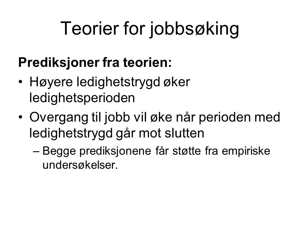 Teorier for jobbsøking