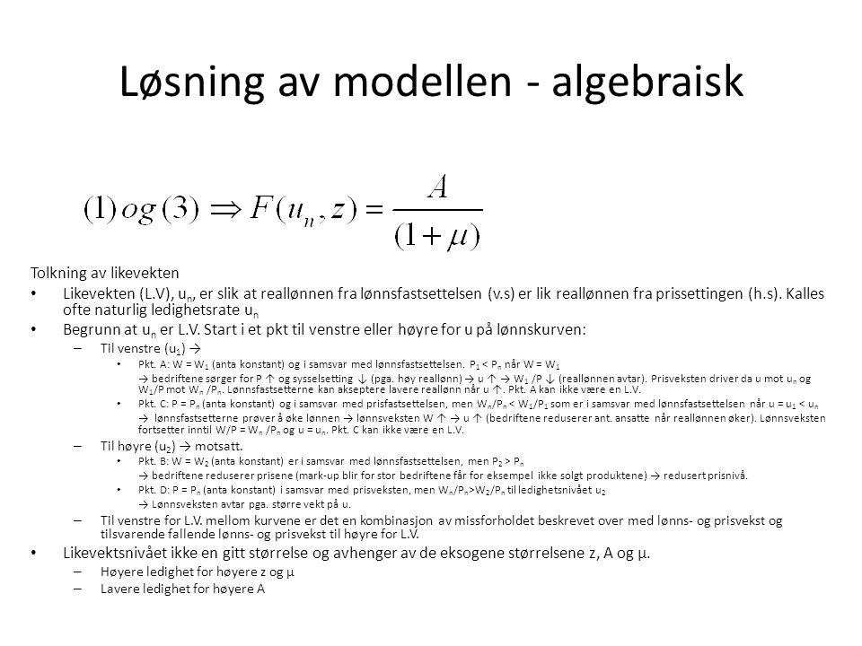 Løsning av modellen - algebraisk
