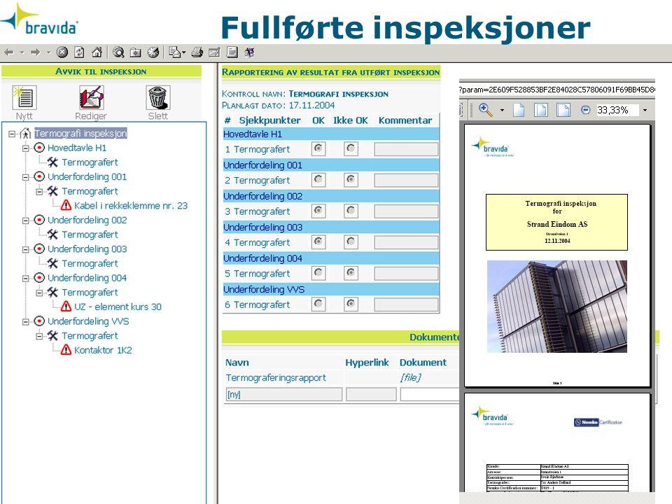 Fullførte inspeksjoner