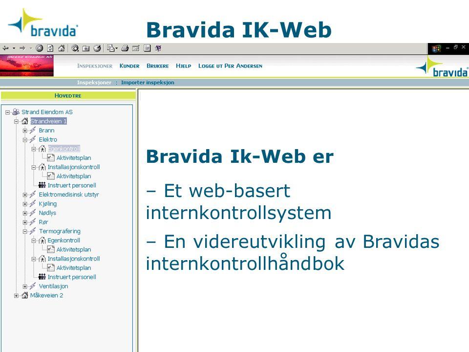 Bravida IK-Web Bravida Ik-Web er – Et web-basert internkontrollsystem – En videreutvikling av Bravidas internkontrollhåndbok.