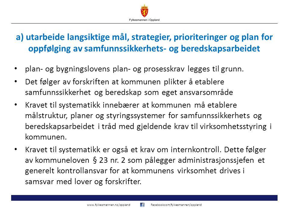 a) utarbeide langsiktige mål, strategier, prioriteringer og plan for oppfølging av samfunnssikkerhets- og beredskapsarbeidet