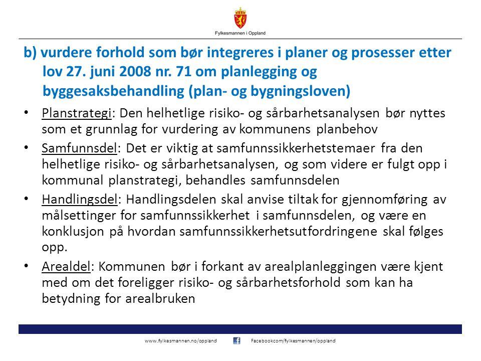 b) vurdere forhold som bør integreres i planer og prosesser etter lov 27. juni 2008 nr. 71 om planlegging og byggesaksbehandling (plan- og bygningsloven)
