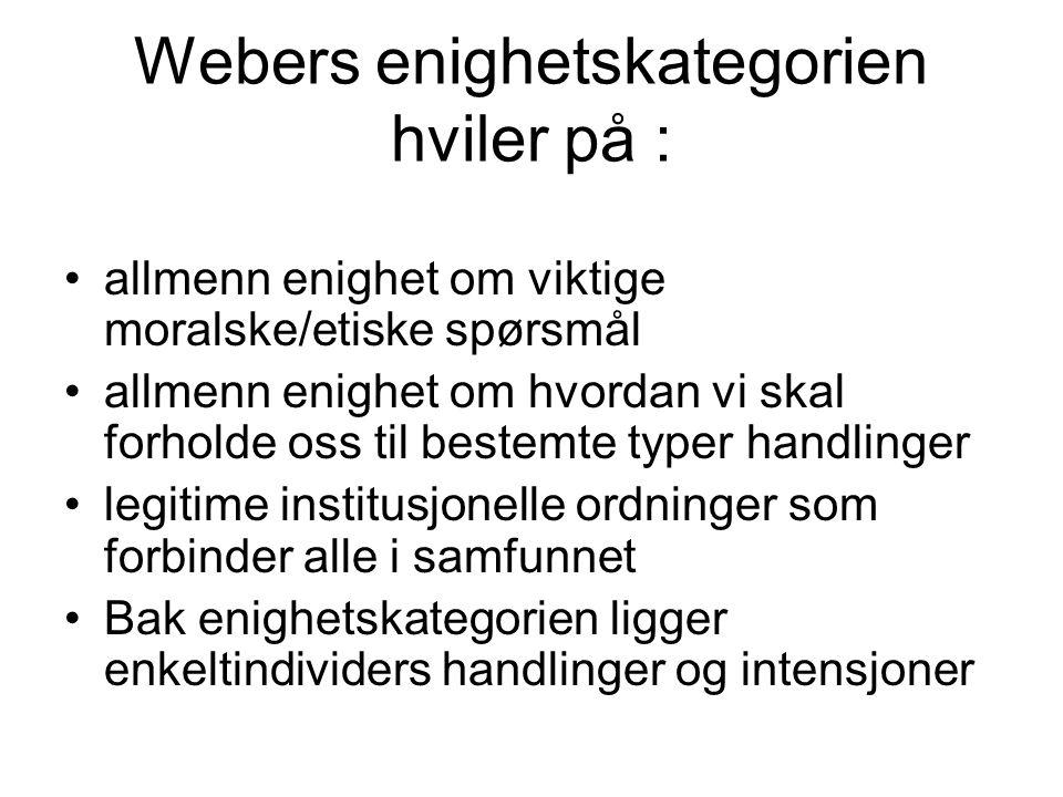 Webers enighetskategorien hviler på :