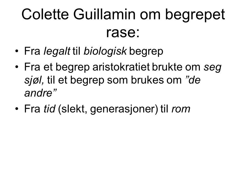 Colette Guillamin om begrepet rase: