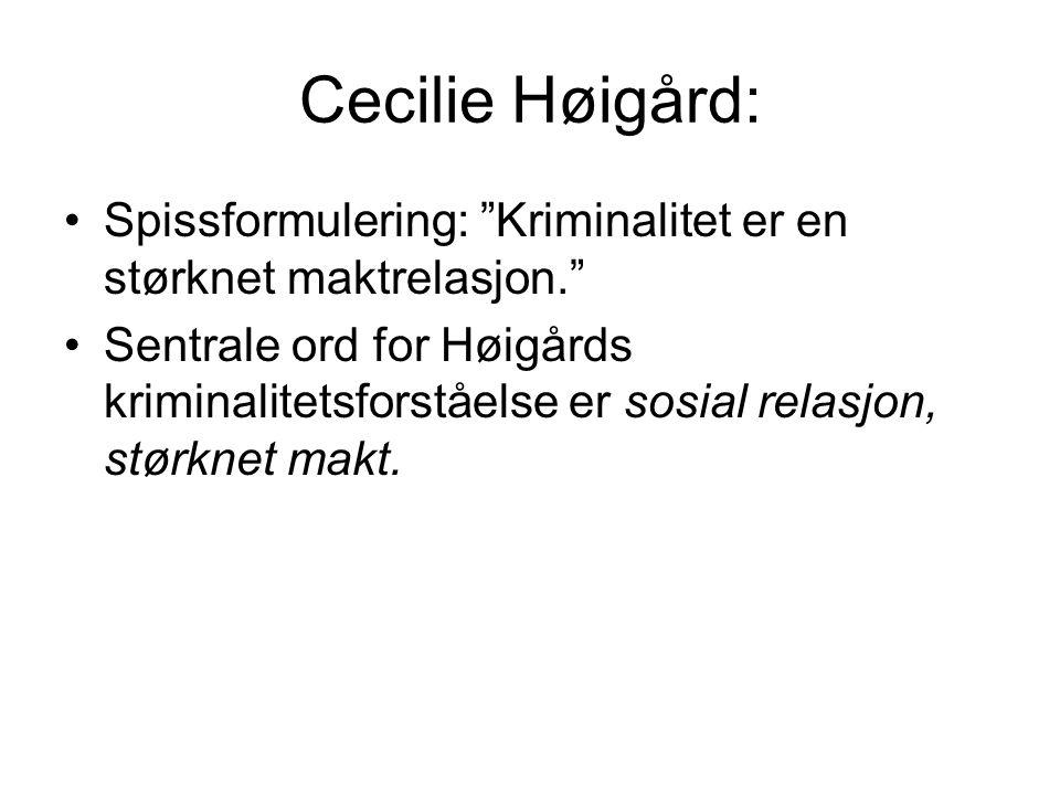Cecilie Høigård: Spissformulering: Kriminalitet er en størknet maktrelasjon.
