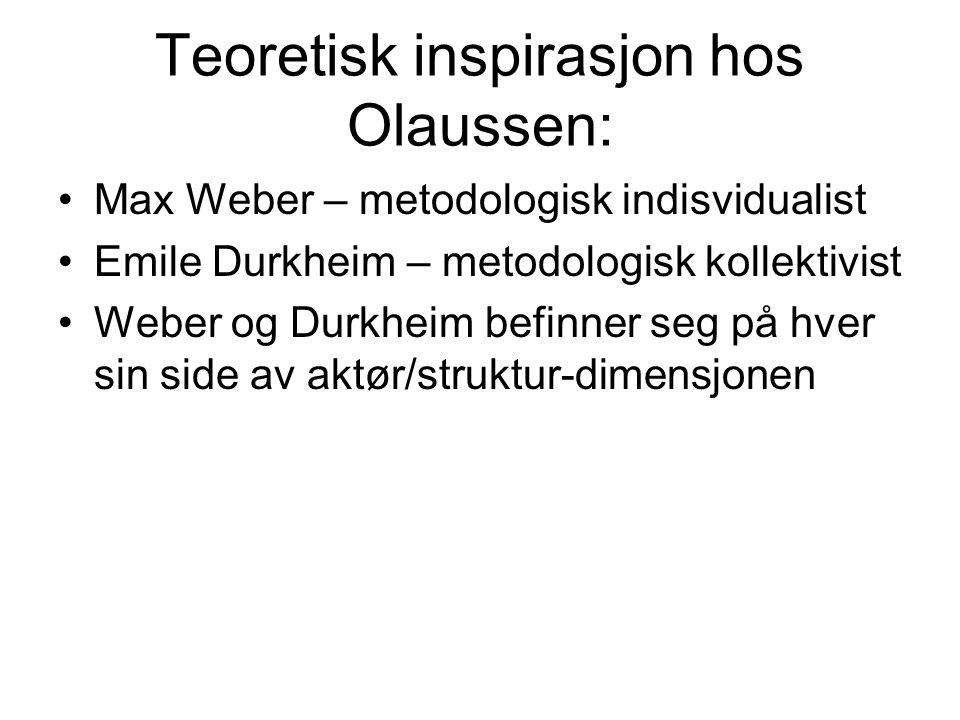 Teoretisk inspirasjon hos Olaussen: