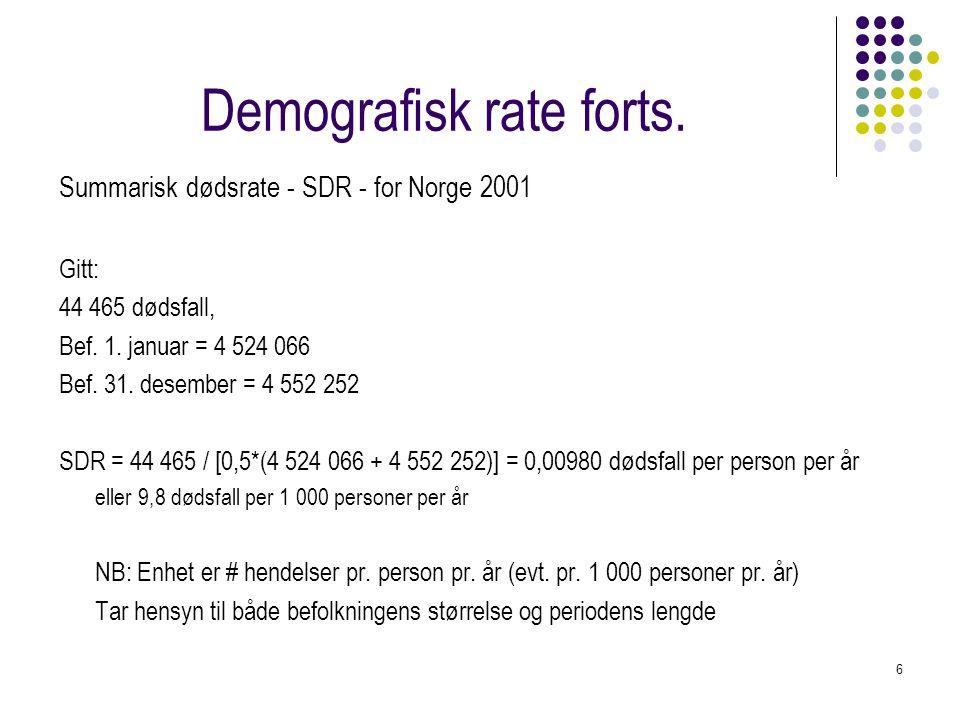 Demografisk rate forts.