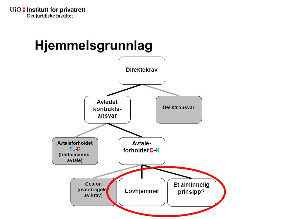 Hjemmelsgrunnlag Direktekrav Avledet kontrakts-ansvar