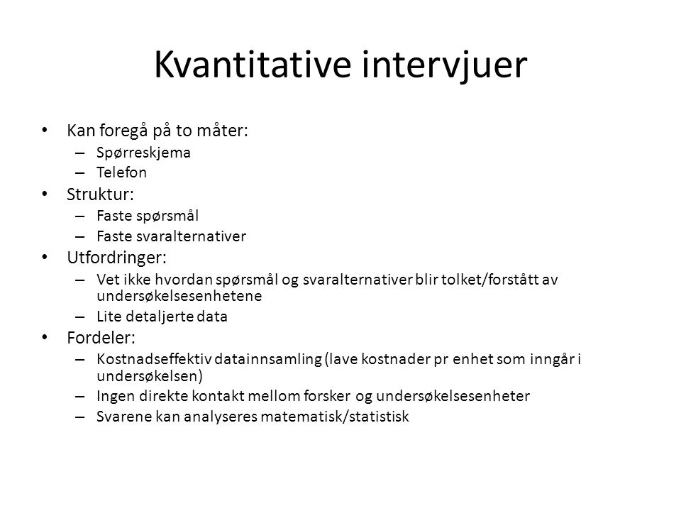 Kvantitative intervjuer