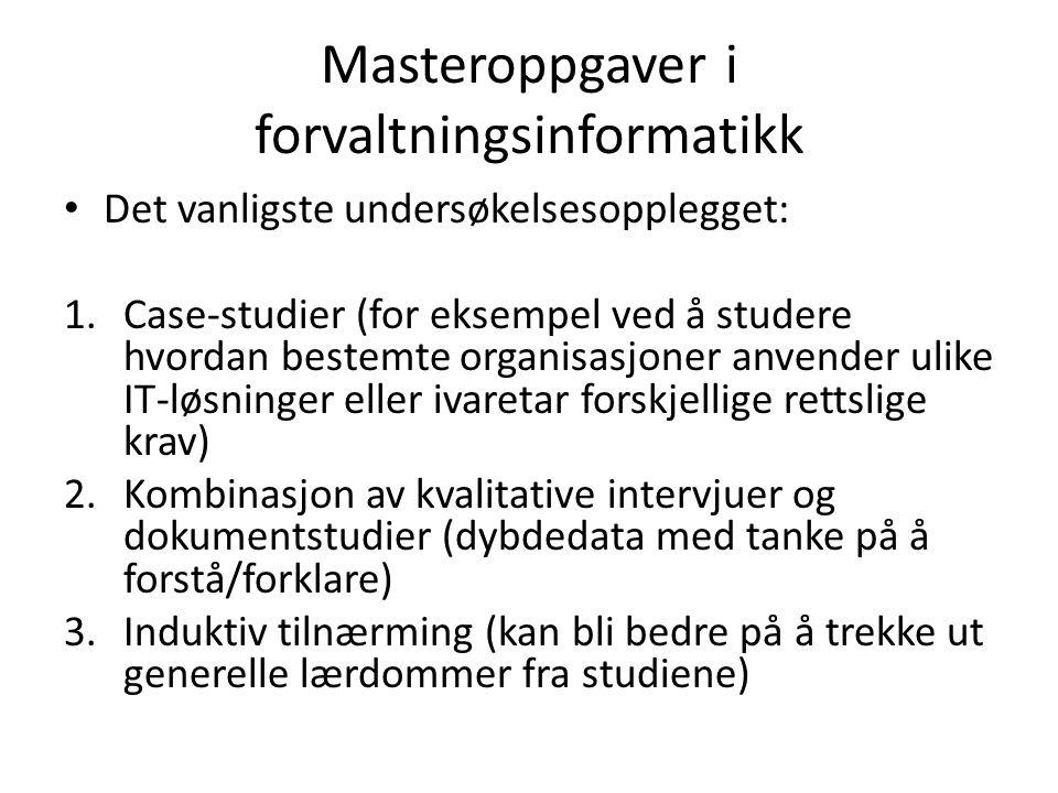 Masteroppgaver i forvaltningsinformatikk