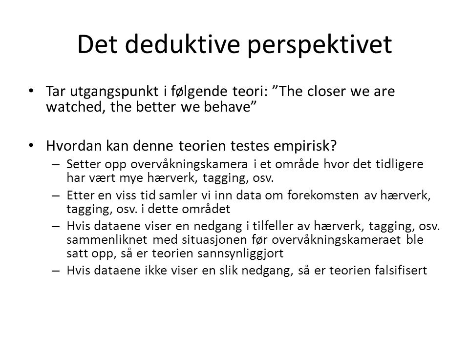 Det deduktive perspektivet