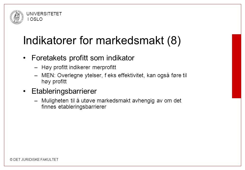 Indikatorer for markedsmakt (8)