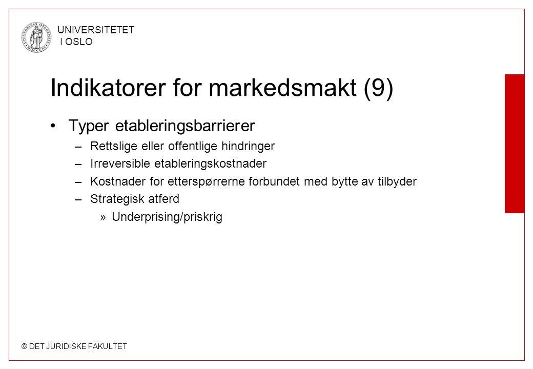 Indikatorer for markedsmakt (9)