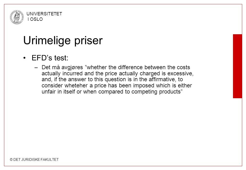 Urimelige priser EFD's test: