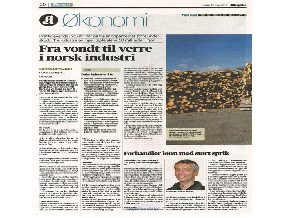 Utviklingen av det norske lønnsnivået har vært en betydelig utfordring.