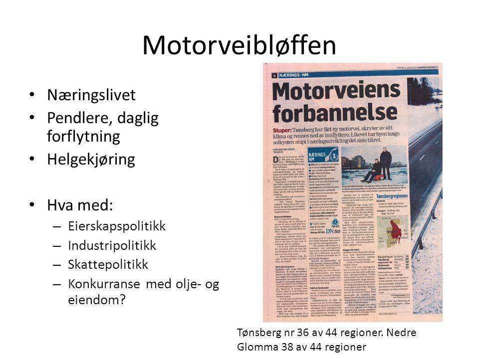 Motorveibløffen Næringslivet Pendlere, daglig forflytning Helgekjøring