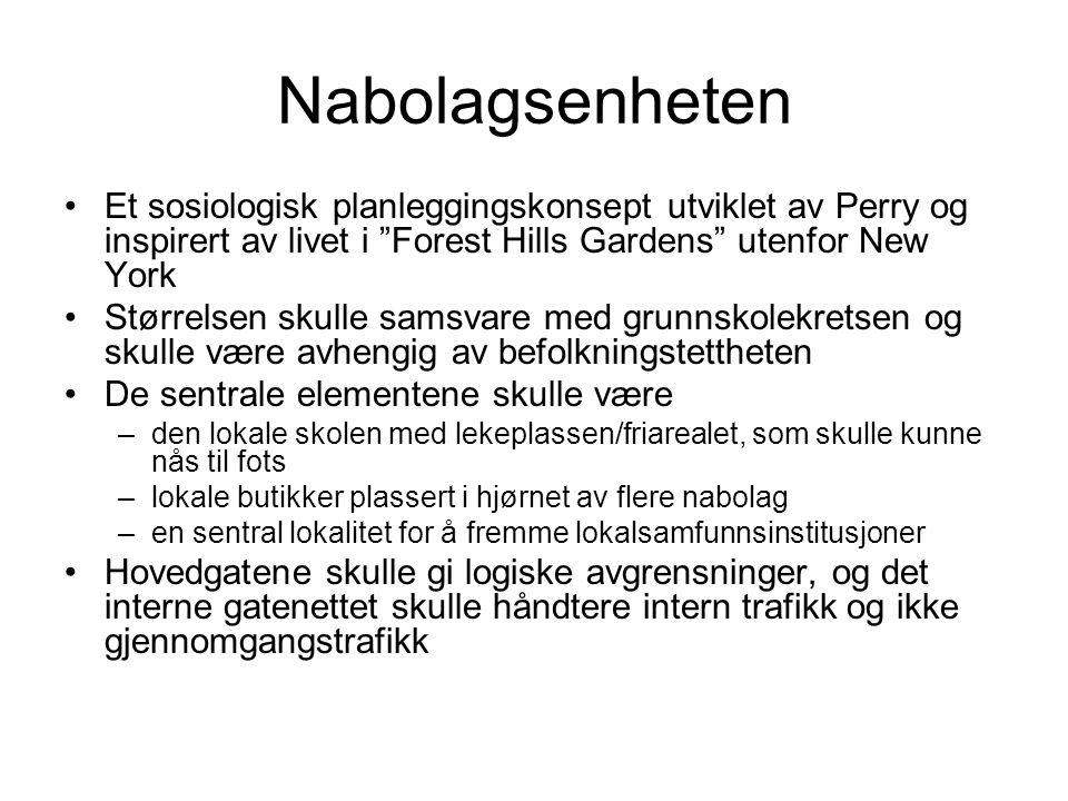 Nabolagsenheten Et sosiologisk planleggingskonsept utviklet av Perry og inspirert av livet i Forest Hills Gardens utenfor New York.