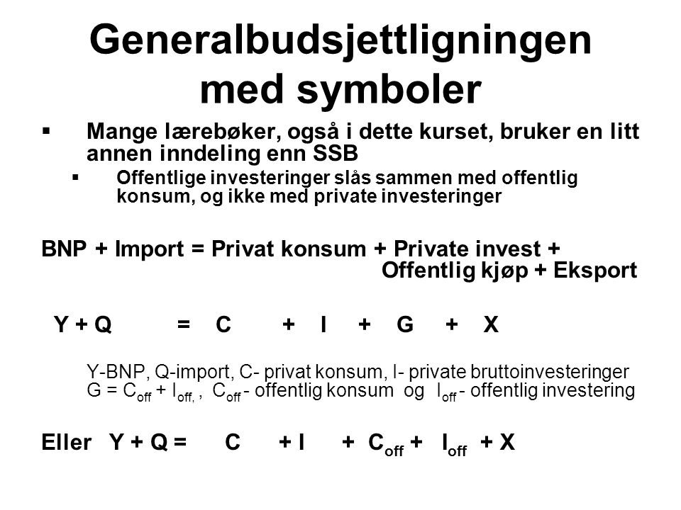 Generalbudsjettligningen med symboler