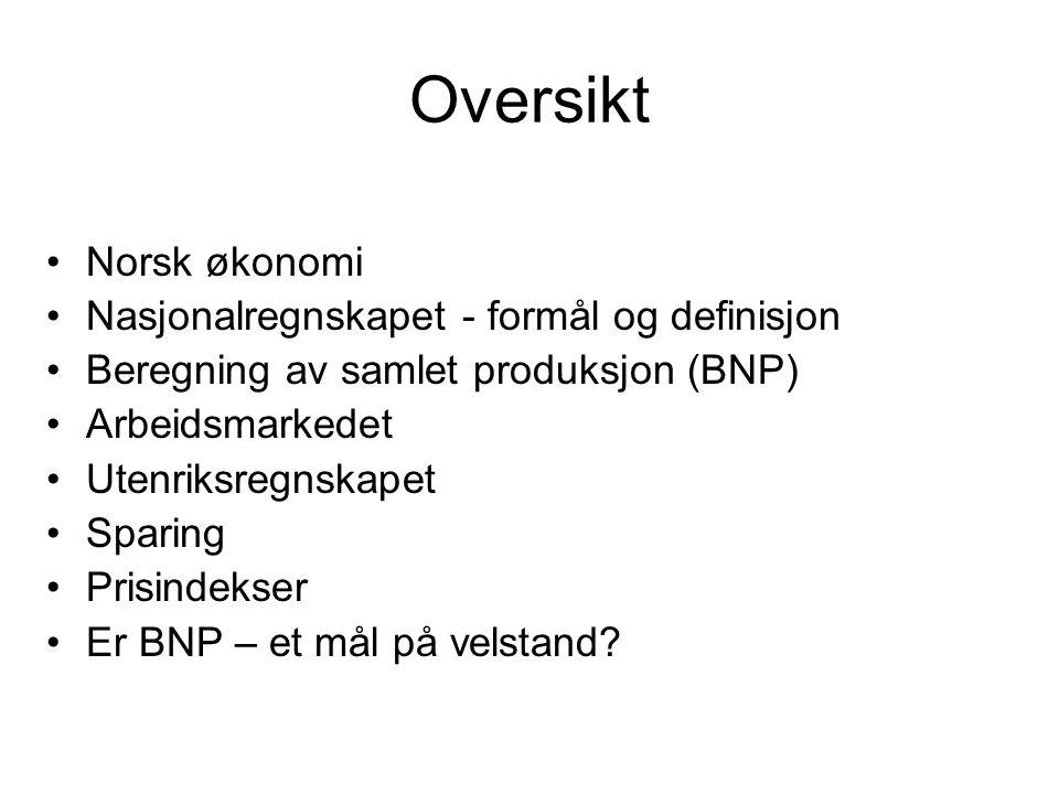 Oversikt Norsk økonomi Nasjonalregnskapet - formål og definisjon