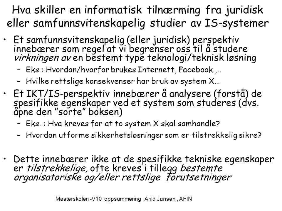 Masterskolen -V10 oppsummering Arild Jansen , AFIN