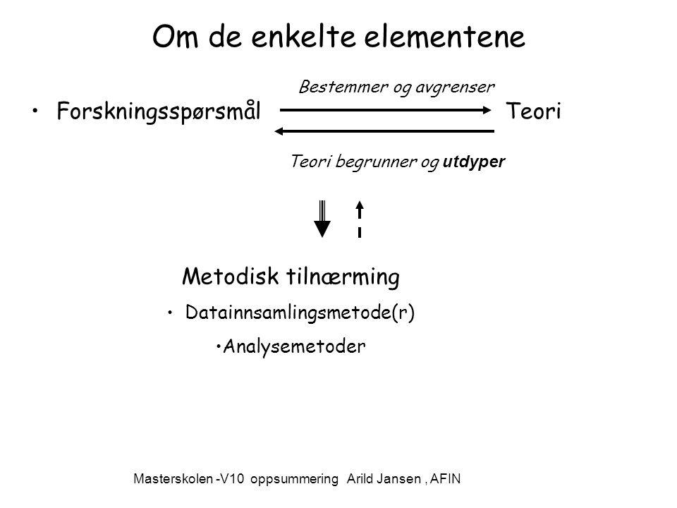 Om de enkelte elementene