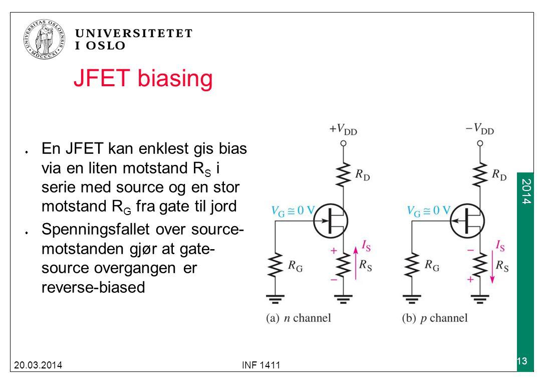 JFET biasing En JFET kan enklest gis bias via en liten motstand RS i serie med source og en stor motstand RG fra gate til jord.