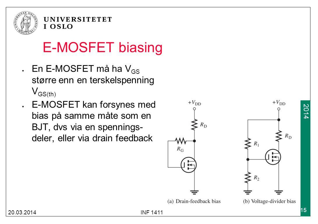 E-MOSFET biasing En E-MOSFET må ha VGS større enn en terskelspenning VGS(th)