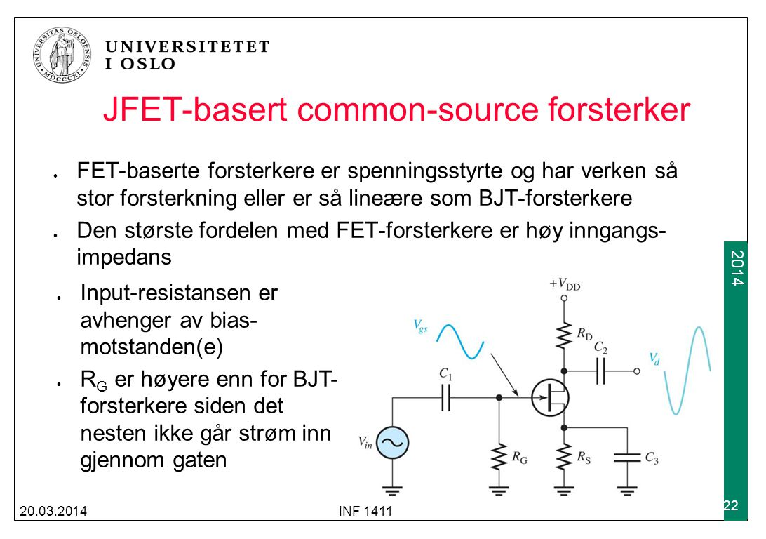JFET-basert common-source forsterker