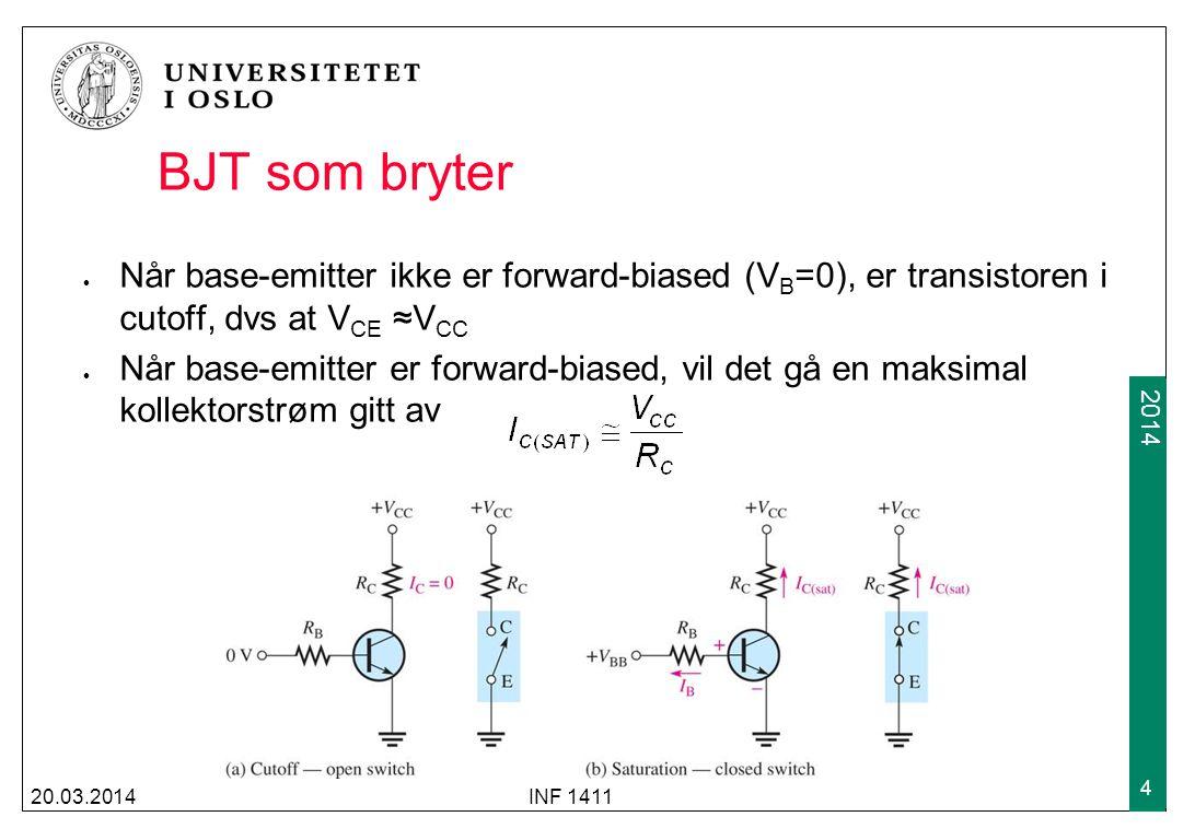 BJT som bryter Når base-emitter ikke er forward-biased (VB=0), er transistoren i cutoff, dvs at VCE ≈VCC.