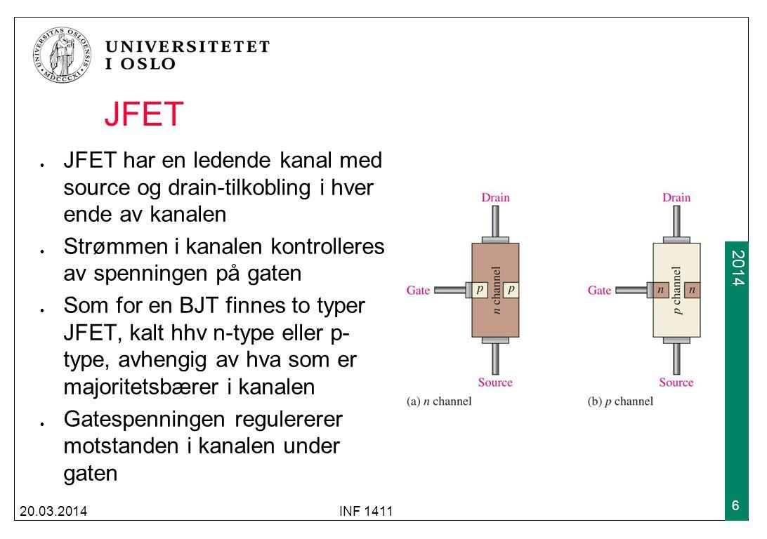 JFET JFET har en ledende kanal med source og drain-tilkobling i hver ende av kanalen. Strømmen i kanalen kontrolleres av spenningen på gaten.
