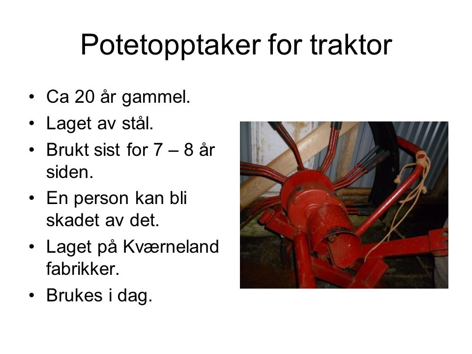 Potetopptaker for traktor