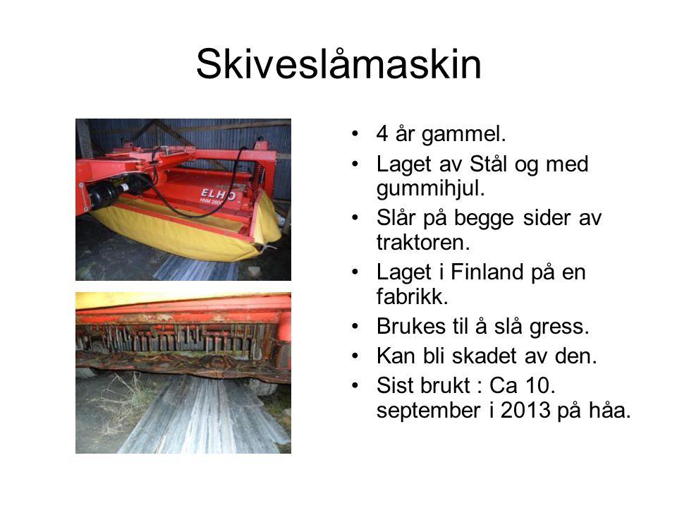 Skiveslåmaskin 4 år gammel. Laget av Stål og med gummihjul.