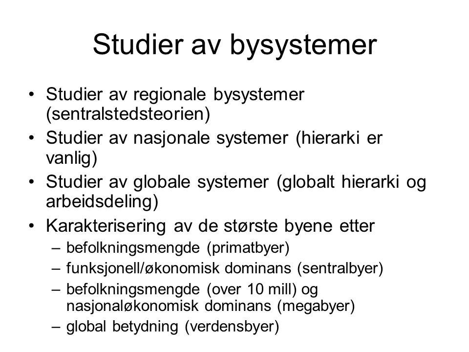 Studier av bysystemer Studier av regionale bysystemer (sentralstedsteorien) Studier av nasjonale systemer (hierarki er vanlig)