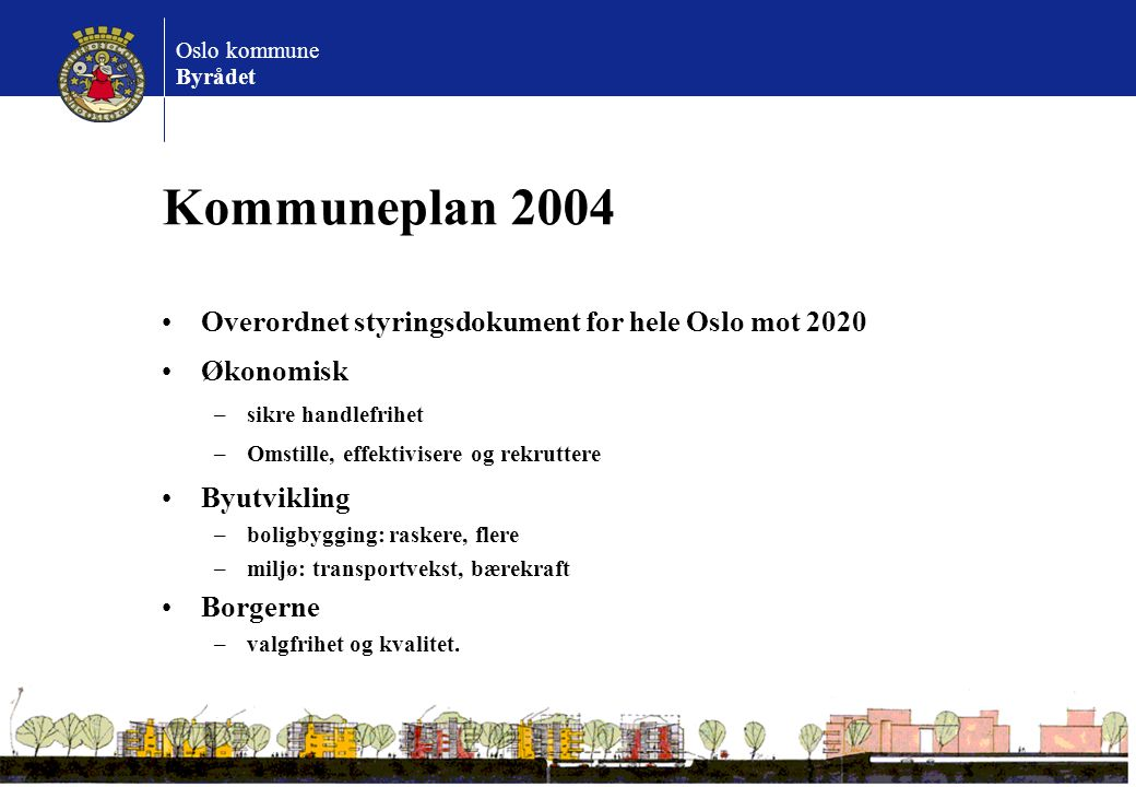 Kommuneplan 2004 Overordnet styringsdokument for hele Oslo mot 2020